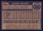 1984 Topps #563  Glenn Wilson  Back Thumbnail