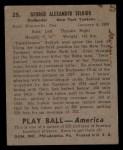 1939 Play Ball #25  George Selkirk  Back Thumbnail
