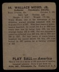 1939 Play Ball #64  Wally Moses  Back Thumbnail