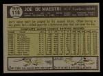 1961 Topps #116  Joe DeMaestri  Back Thumbnail