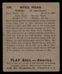 1939 Play Ball #109  Myril Hoag  Back Thumbnail