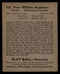 1939 Play Ball #137  Pete Appleton  Back Thumbnail