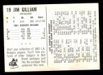 1962 Bell Brand Dodgers #19  Jim Gilliam  Back Thumbnail