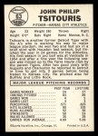 1960 Leaf #63  John Tsitouris  Back Thumbnail