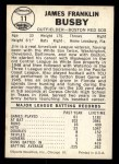 1960 Leaf #11  Jim Busby  Back Thumbnail