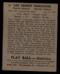 1939 Play Ball #6  Leo Durocher  Back Thumbnail