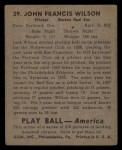 1939 Play Ball #29  Jack Wilson  Back Thumbnail