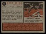 1962 Topps #47  Bob Will  Back Thumbnail