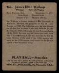 1939 Play Ball #150  Jim Walkup  Back Thumbnail