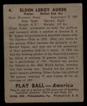 1939 Play Ball #4  Elden Auker  Back Thumbnail