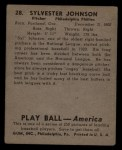1939 Play Ball #28  Syl Johnson  Back Thumbnail