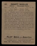 1939 Play Ball #63  Heinie Mueller  Back Thumbnail