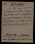 1939 Play Ball #67  Eddie Joost  Back Thumbnail
