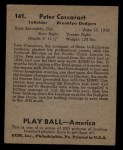 1939 Play Ball #141  Pete Coscarart  Back Thumbnail