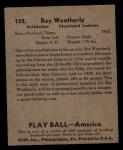 1939 Play Ball #152  Roy Weatherly  Back Thumbnail
