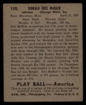 1939 Play Ball #105  Eric McNair  Back Thumbnail