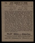 1939 Play Ball #10  Jim DeShong  Back Thumbnail