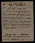 1939 Play Ball #40  Jim Bagby  Back Thumbnail