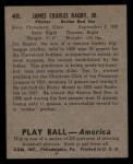1939 Play Ball #40  Jim Bagby  Back Thumbnail