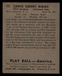 1939 Play Ball #77  Lew Riggs  Back Thumbnail