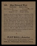 1939 Play Ball #149  Max West  Back Thumbnail