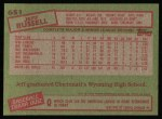 1985 Topps #651  Jeff Russell  Back Thumbnail