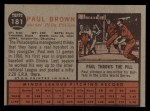 1962 Topps #181 NRM Paul Brown  Back Thumbnail