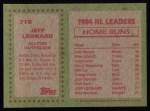 1985 Topps #718  Jeff Leonard  Back Thumbnail
