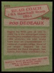 1985 Topps #389   -  Rod Dedeaux Team USA Back Thumbnail