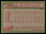 1985 Topps #31  Terry Whitfield  Back Thumbnail