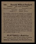 1939 Play Ball #157  Don Padgett  Back Thumbnail