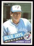 1985 Topps #411  Bobby Cox  Front Thumbnail