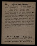 1939 Play Ball #44  Don Heffner  Back Thumbnail