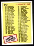 1985 Topps #659   Checklist Front Thumbnail
