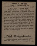 1939 Play Ball #91  Jack Knott  Back Thumbnail