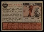 1962 Topps #190 xCAP Wally Moon   Back Thumbnail
