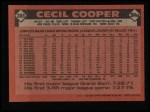 1986 Topps #385  Cecil Cooper  Back Thumbnail