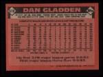 1986 Topps #678  Dan Gladden  Back Thumbnail