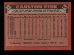 1986 Topps #290  Carlton Fisk  Back Thumbnail