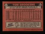1986 Topps #643  Tom Brookens  Back Thumbnail