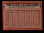 1986 Topps #275  Charlie Hough  Back Thumbnail