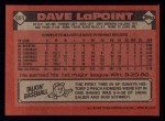 1986 Topps #551  Dave LaPoint  Back Thumbnail