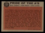 1962 Topps #127 A  -  Norm Siebern / Hank Bauer / Jerry Lumpe Pride of the A's Back Thumbnail