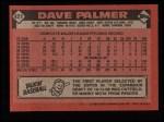 1986 Topps #421  David Palmer  Back Thumbnail