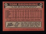 1986 Topps #652  Tom Browning  Back Thumbnail