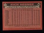1986 Topps #19  Rich Hebner  Back Thumbnail