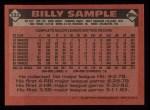 1986 Topps #533  Billy Sample  Back Thumbnail