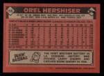 1986 Topps #159  Orel Hershiser  Back Thumbnail