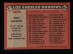 1986 Topps #291  Tommy Lasorda  Back Thumbnail