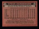 1986 Topps #748  Steve Henderson  Back Thumbnail